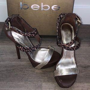 Bebe Leopard Print Open Toe Strap Stilettos Heels!